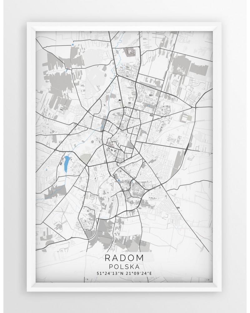 Plakat Mapa Radom Seria Gray Blue
