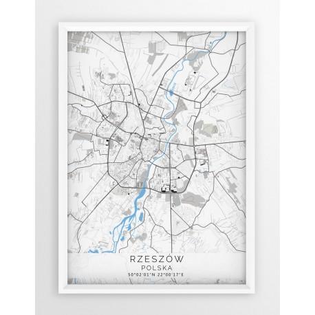 Mapa plakat RZESZÓW - linia BLUE/GRAY