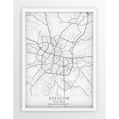 Mapa plakat RZESZÓW - linia WHITE