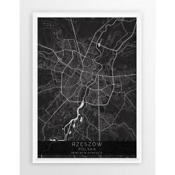 Mapa plakat RZESZÓW - linia BLACK
