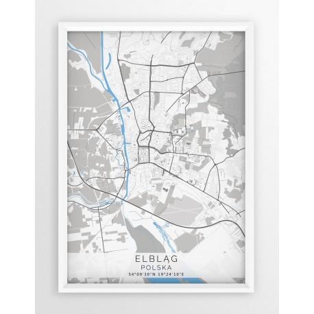 Mapa plakat ELBLĄG - linia BLUE/GRAY
