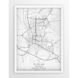 Mapa plakat ELBLĄG - linia WHITE