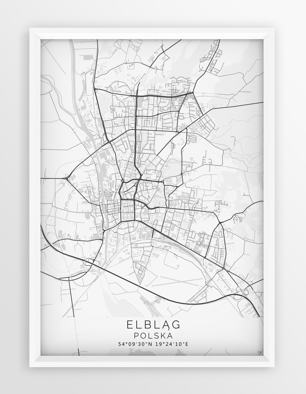 Plakat Mapa Elblag Seria White