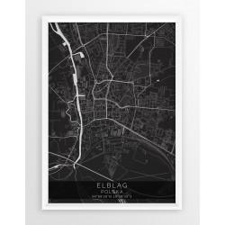 Mapa plakat ELBLĄG - linia BLACK