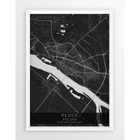 Mapa plakat PŁOCK - linia BLACK