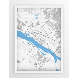 Mapa plakat PŁOCK - linia BLUE/GRAY