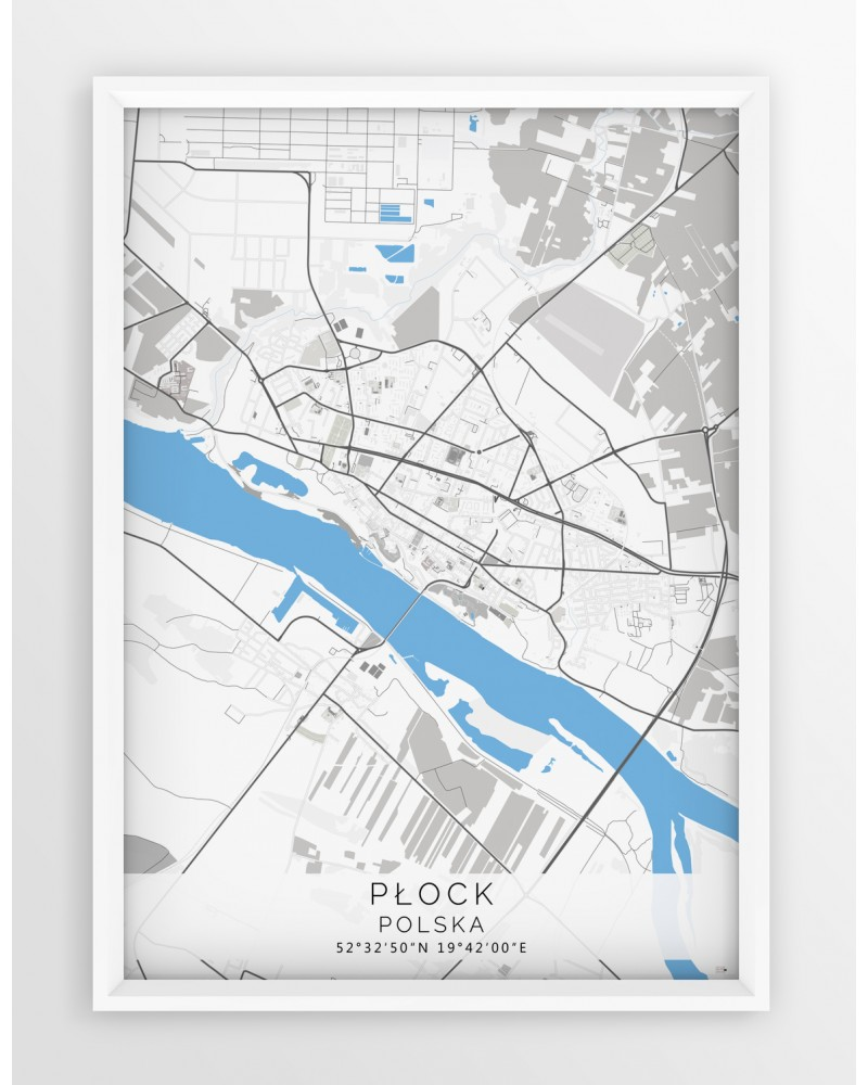 Plakat Mapa Plock Seria Gray Blue