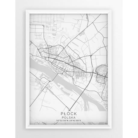 Plakat Mapa Plock Seria White