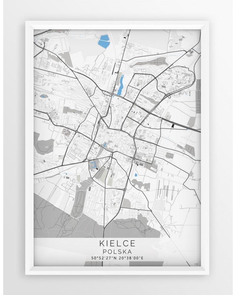 Plakat Mapa Kielce Seria Grayblue