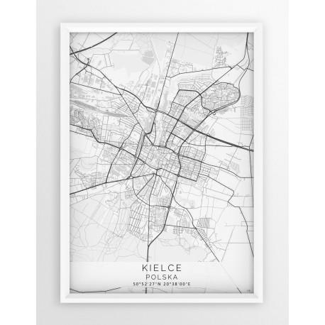 Mapa plakat KIELCE - linia WHITE