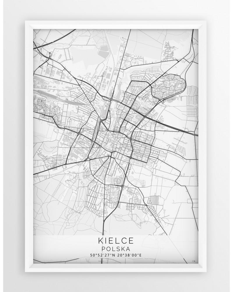 Plakat Mapa Kielce Seria White