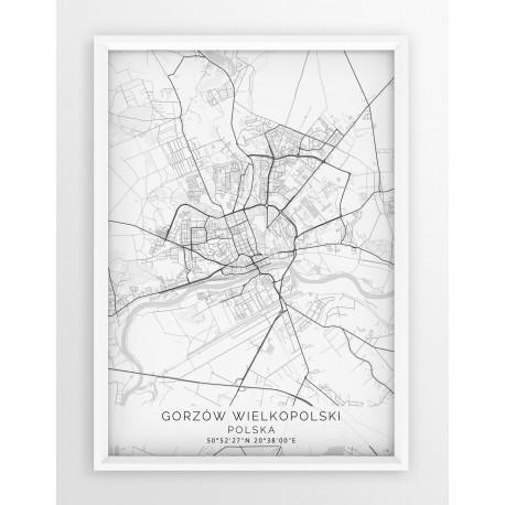 Mapa plakat GORZÓW WLKP. - linia WHITE
