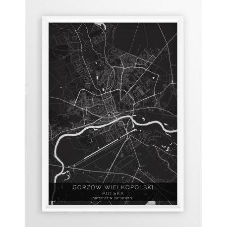 Mapa plakat GORZÓW WLKP. - linia BLACK