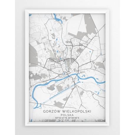 Mapa plakat GORZÓW WLKP. - linia BLUE/GRAY