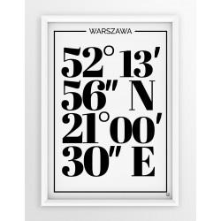 Plakat typograficzny WARSZAWA 1 - linia WHITE