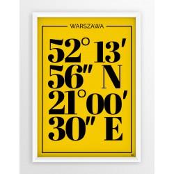 Plakat typograficzny WARSZAWA 1 - linia YELLOW