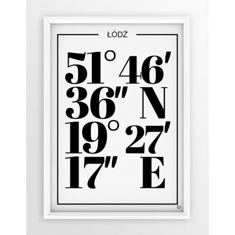 Plakat typograficzny ŁÓDŹ 1 - linia WHITE