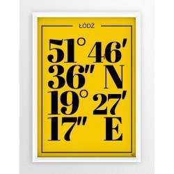 Plakat typograficzny ŁÓDŹ1 - linia YELLOW