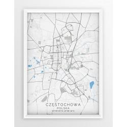 Mapa plakat CZĘSTOCHOWA - linia BLUE/GRAY