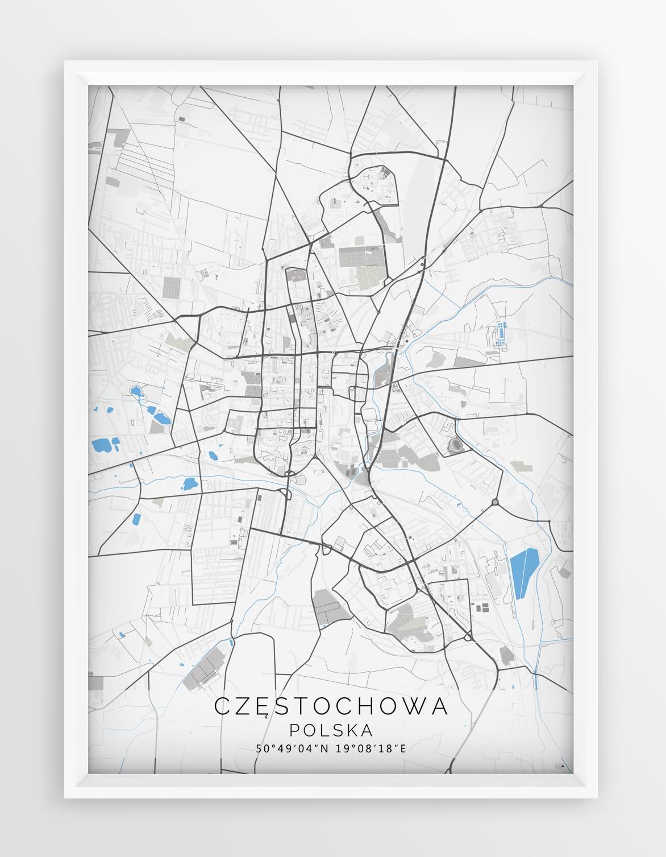 Plakat Mapa Czestochowa Seria Gray Blue