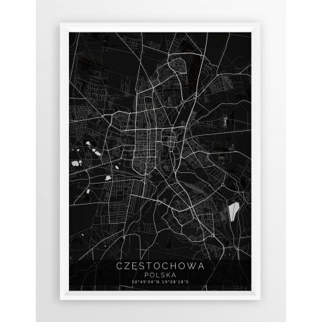 Mapa plakat CZĘSTOCHOWA - linia BLACK