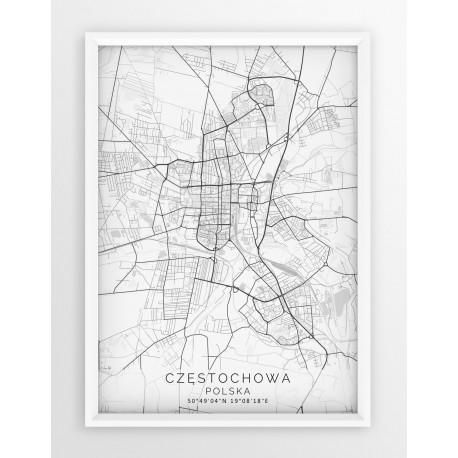 Mapa plakat CZĘSTOCHOWA - linia WHITE