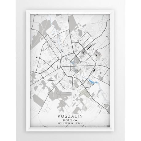 Mapa plakat KOSZALIN - linia BLUE/GRAY