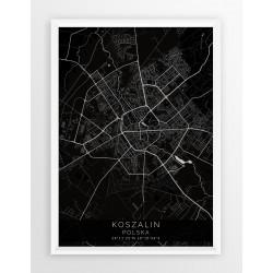 Mapa plakat KOSZALIN - linia BLACK