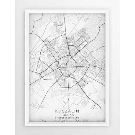 Mapa plakat KOSZALIN - linia WHITE