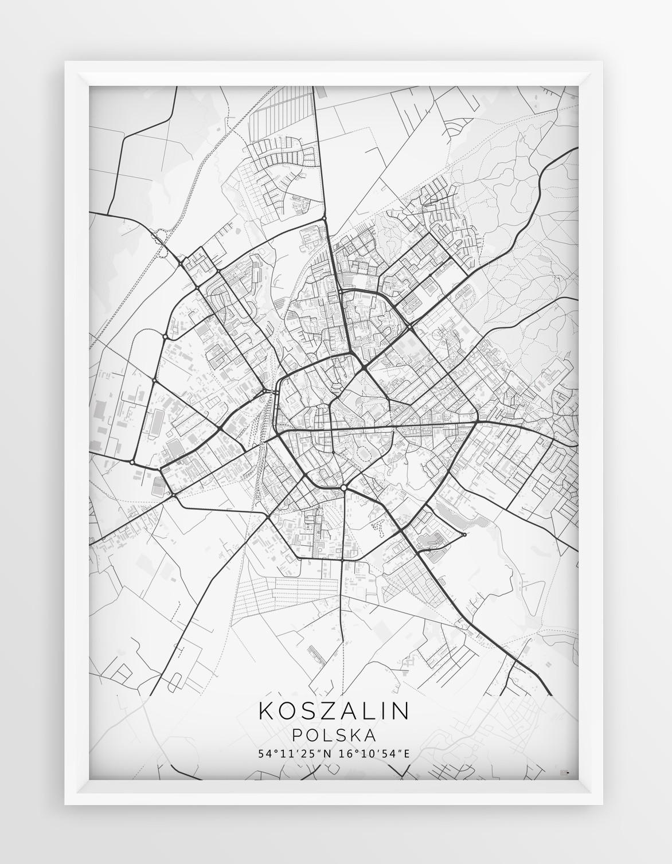 Plakat Mapa Koszalin Seria White