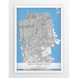 Mapa plakat SAN FRANCISCO- linia BLUE/GRAY