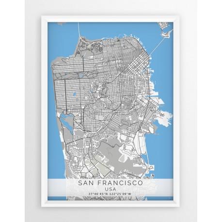 Mapa plakat SAN FRANCISCO- linia BLUE/GRAY