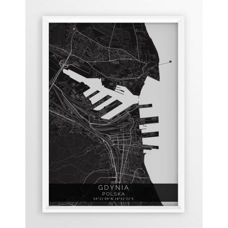 Mapa plakat GDYNIA - linia BLACK