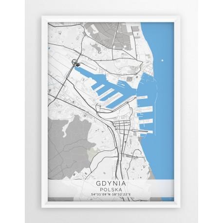 Mapa plakat GDYNIA - linia BLUE/GRAY