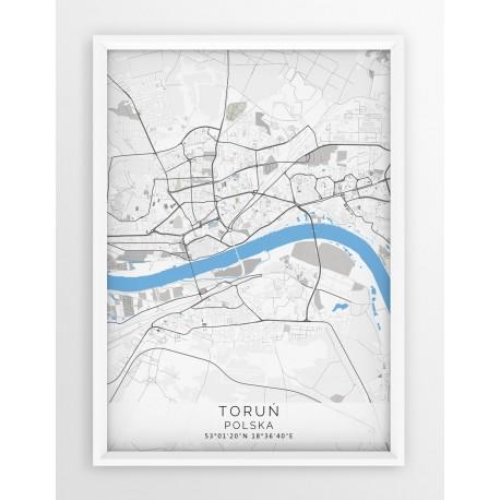 Mapa plakat TORUŃ - linia BLUE/GRAY