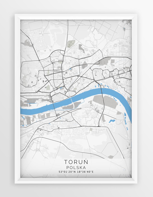 Plakat Mapa Torun Seria Gray Blue