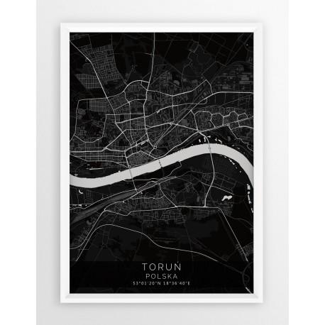 Mapa plakat TORUŃ - linia BLACK