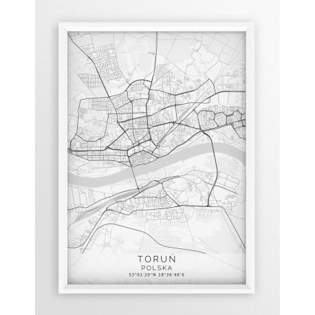 Mapa plakat TORUŃ - linia WHITE