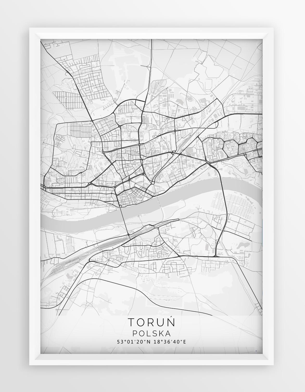 Plakat Mapa Torun Seria White