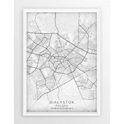 Mapa plakat BIAŁYSTOK - linia WHITE