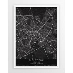 Mapa plakat BIAŁYSTOK - linia BLACK