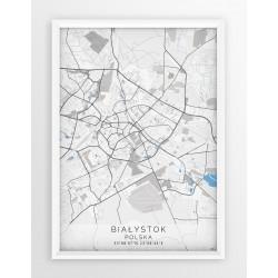 Mapa plakat BIAŁYSTOK - linia BLUE/GRAY