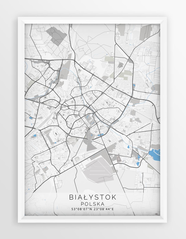 Plakat Mapa Bialystok Seria Gray Blue