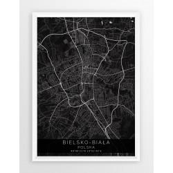 Mapa plakat BIELSKO-BIAŁA - linia BLACK