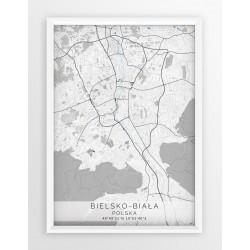 Mapa plakat BIELSKO-BIAŁA  - linia BLUE/GRAY