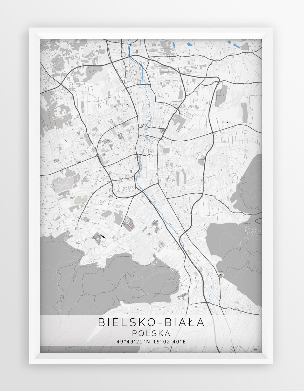Plakat Mapa Bielsko Biala Seria Gray Blue
