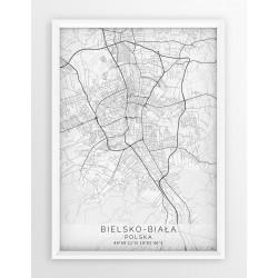 Mapa plakat BIELSKO-BIAŁA - linia WHITE