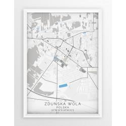 Mapa plakat ZDUŃSKA WOLA - linia BLUE/GRAY