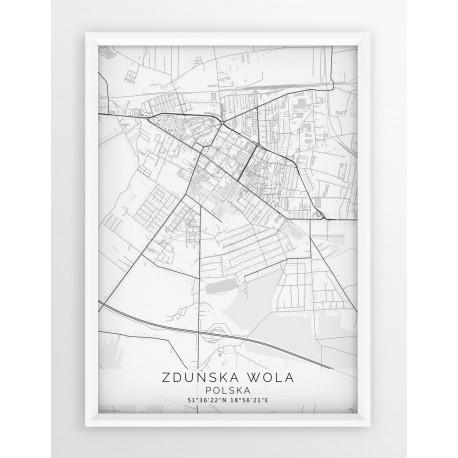 Mapa plakat ZDUŃSKA WOLA - linia WHITE