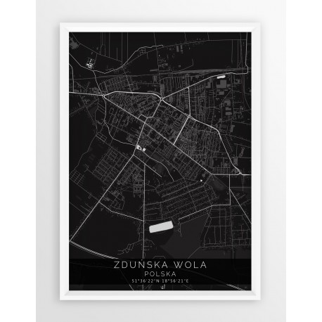 Mapa plakat ZDUŃSKA WOLA - linia BLACK